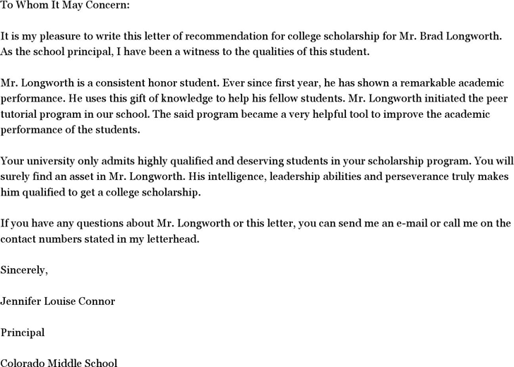 Letter Of Recommendation For A Student Scholarship from www.speedytemplate.com