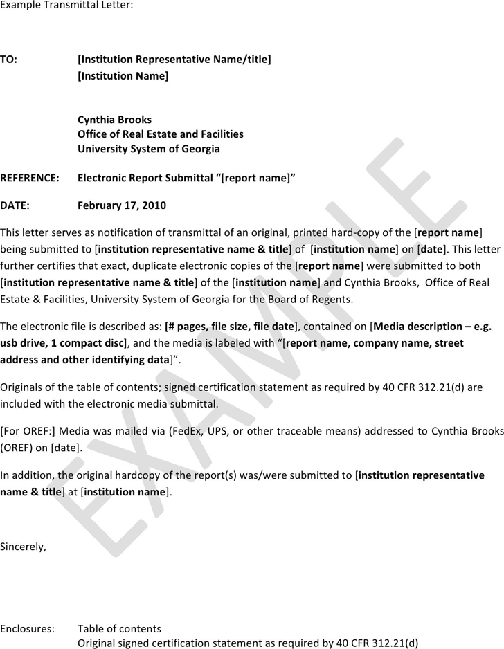 Letter of Transmittal Example Template Free Download Speedy Template
