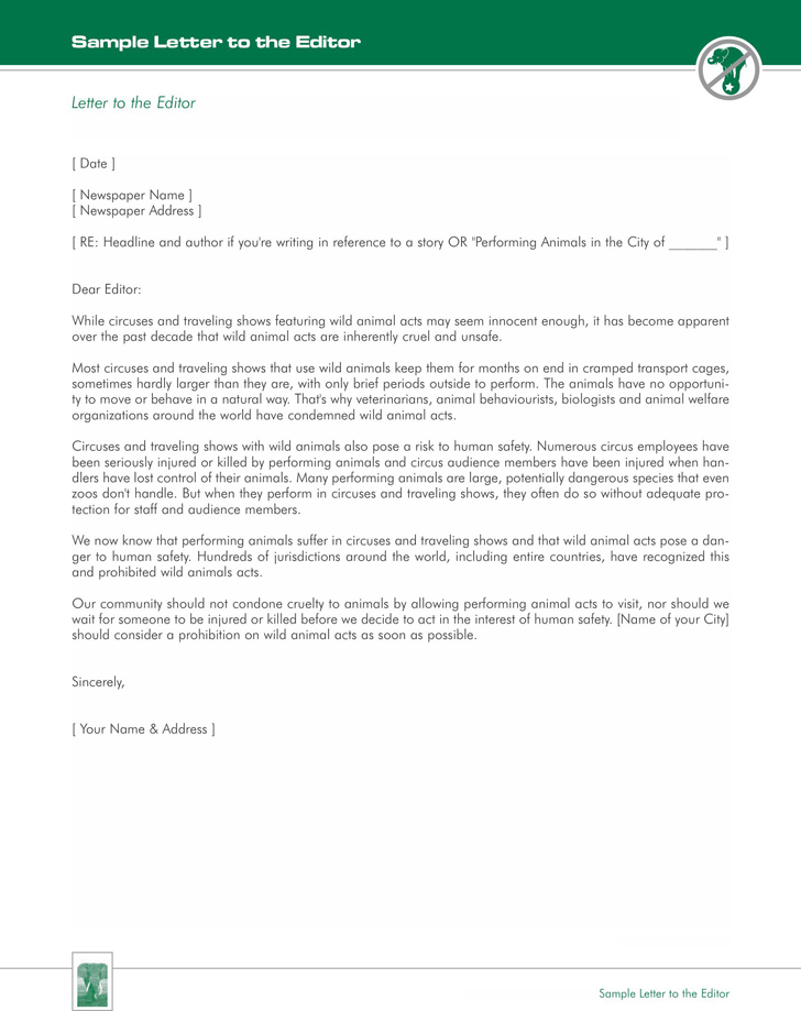 Letter To The Editor Example Template Free Download Speedy Template
