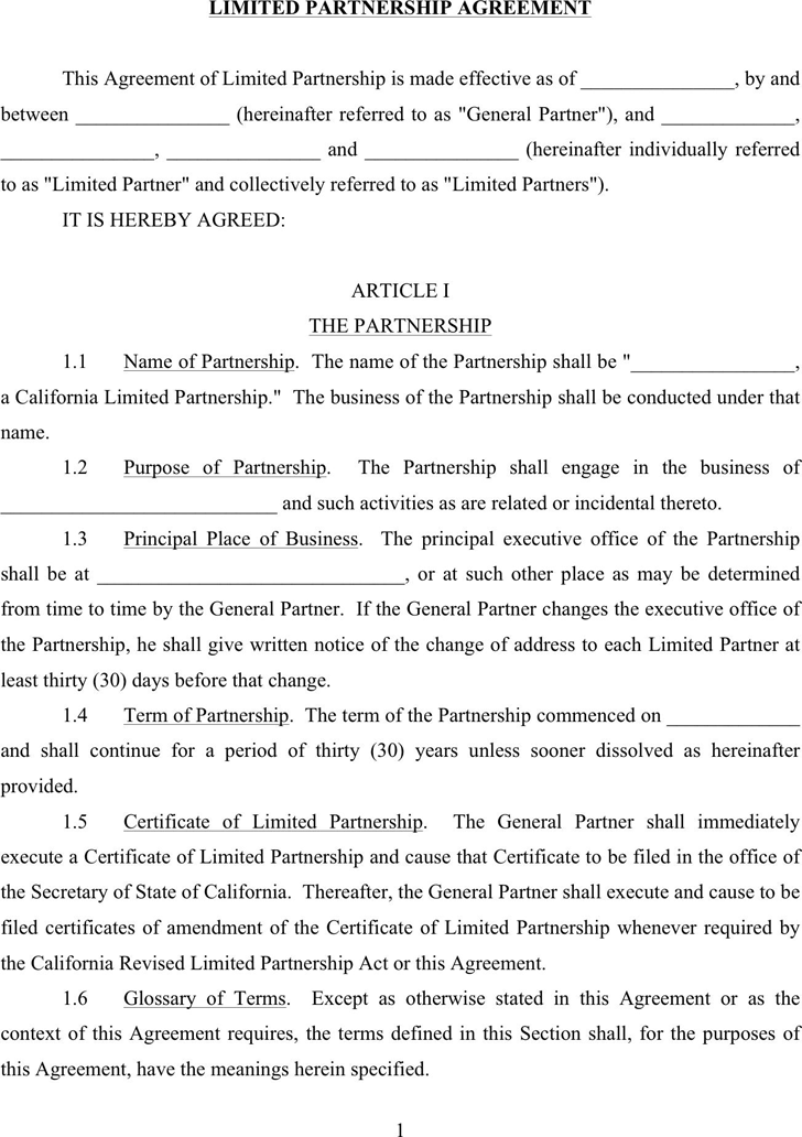Limited partnership agreement template free download for Rto partnership agreement template