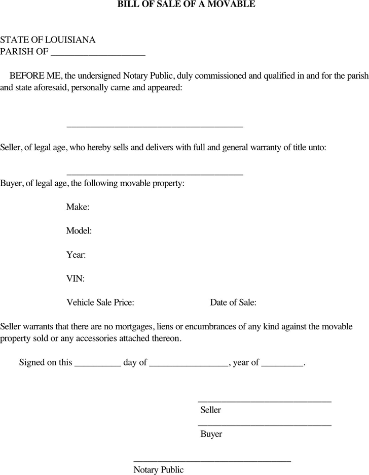 Louisiana Movable Property Bill Of Sale Form  Legal Bill Of Sale Template