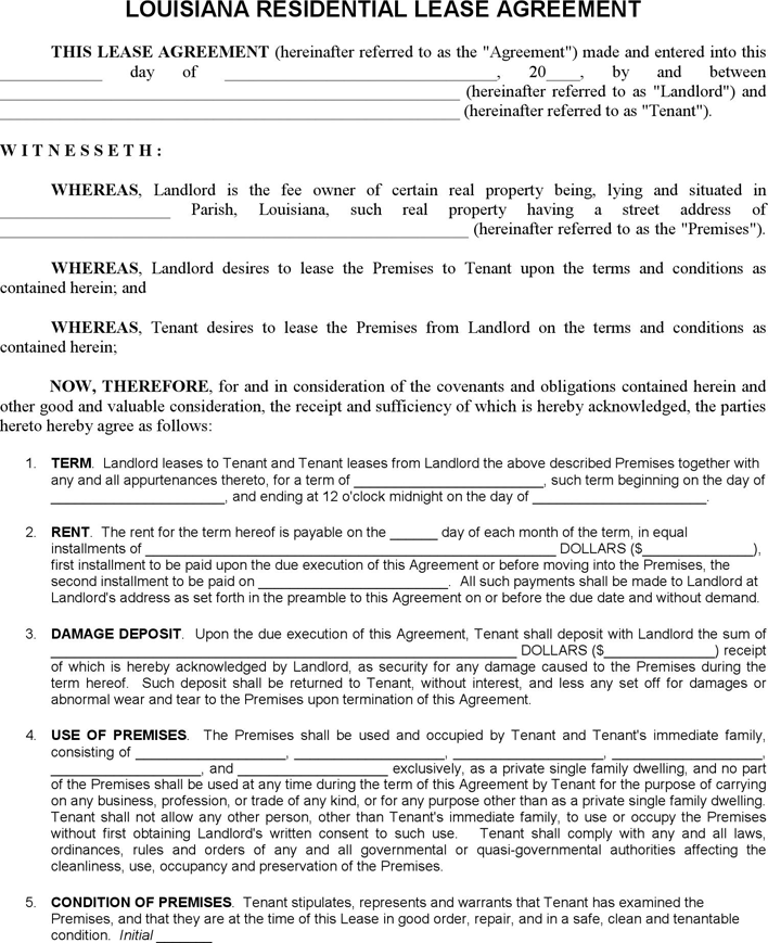 Free Louisiana Residential Lease Agreement Form Pdf 200kb 6