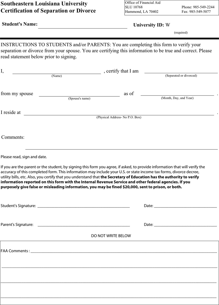 Free Louisiana Separation Agreement Template - PDF | 669KB | 1 Page(s)