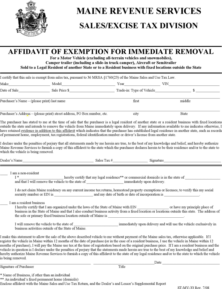 Maine Affidavit of Exemption for Immediate Removal Form