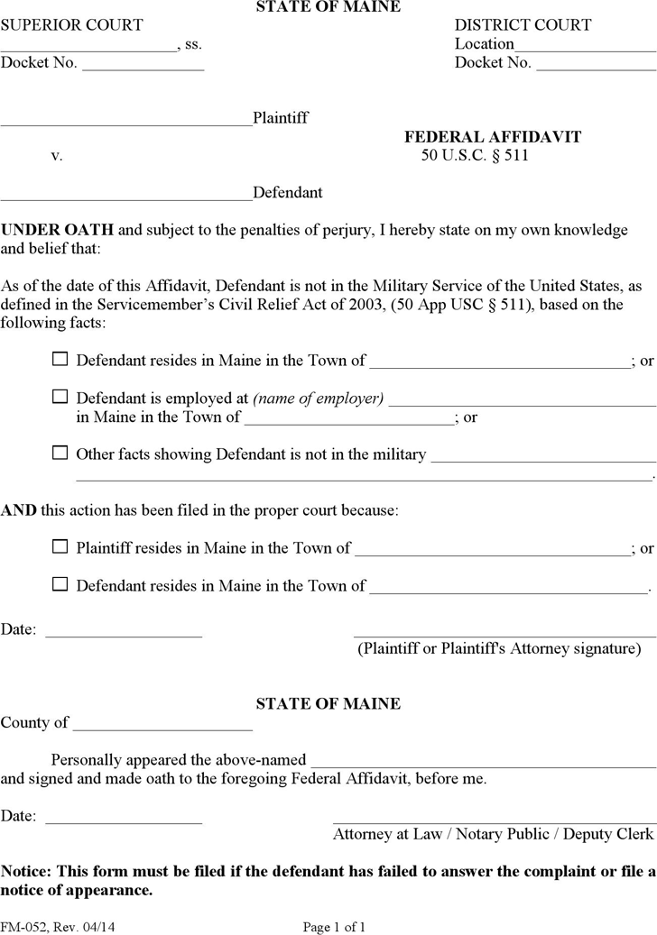 Free Maine Federal Affidavit Form - PDF | 91KB | 1 Page(s)
