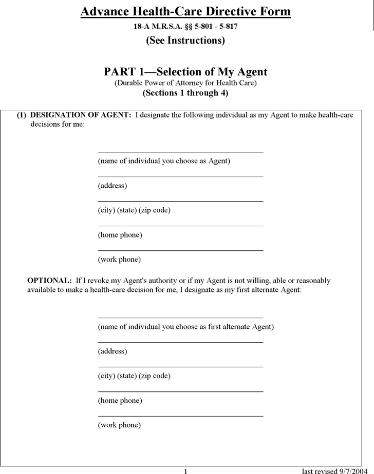 Maine Health Care Power of Attorney Form 2
