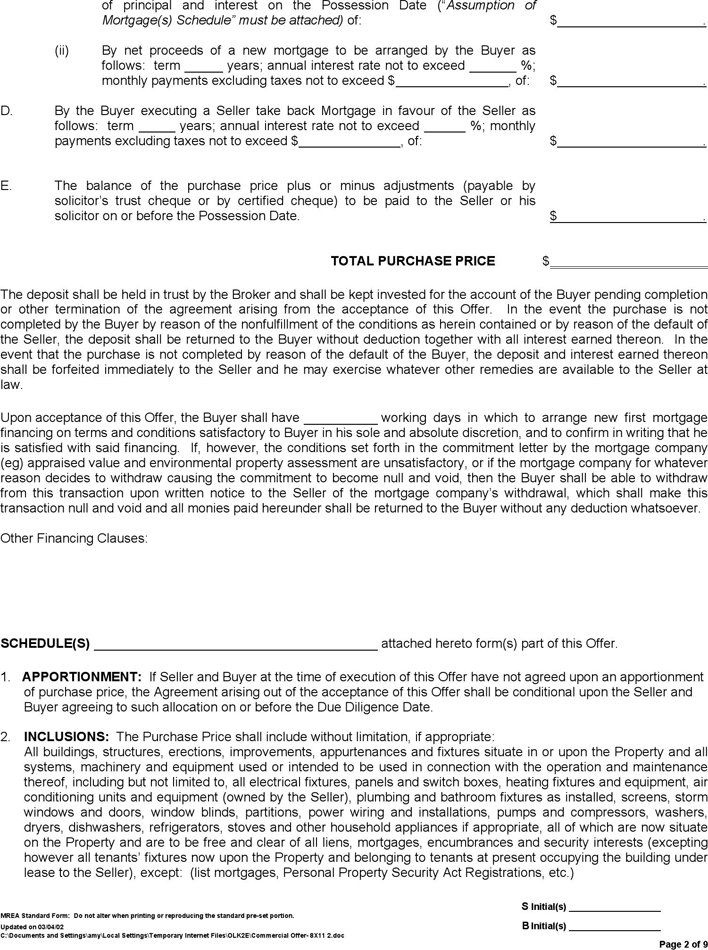 Free Manitoba Offer To Purchase Real Estate Commercial Form Pdf