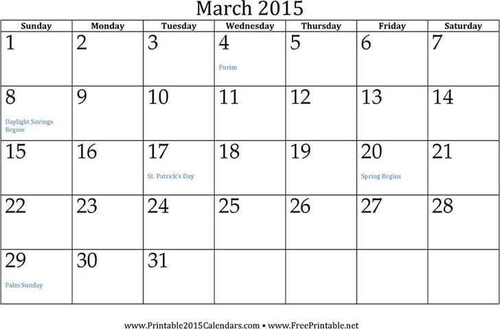 March 2015 Calendar Template Free Download Speedy Template