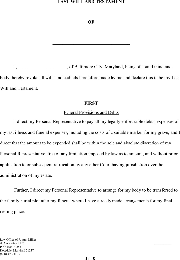 maryland will template - last will and testament template free template download