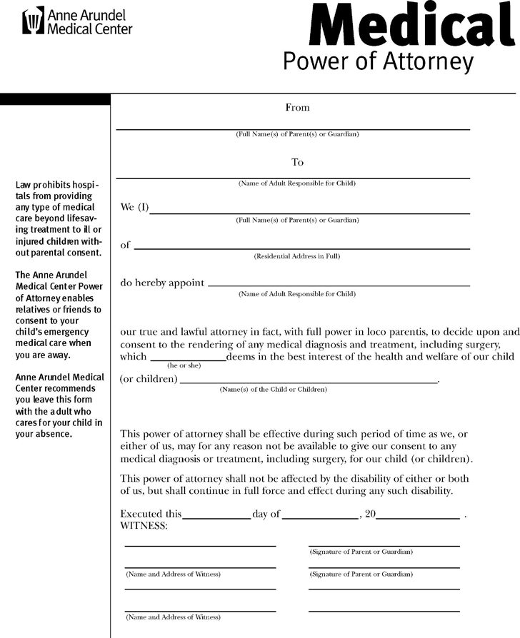 Free Maryland Medical Power Of Attorney Form Pdf 118kb 1 Pages