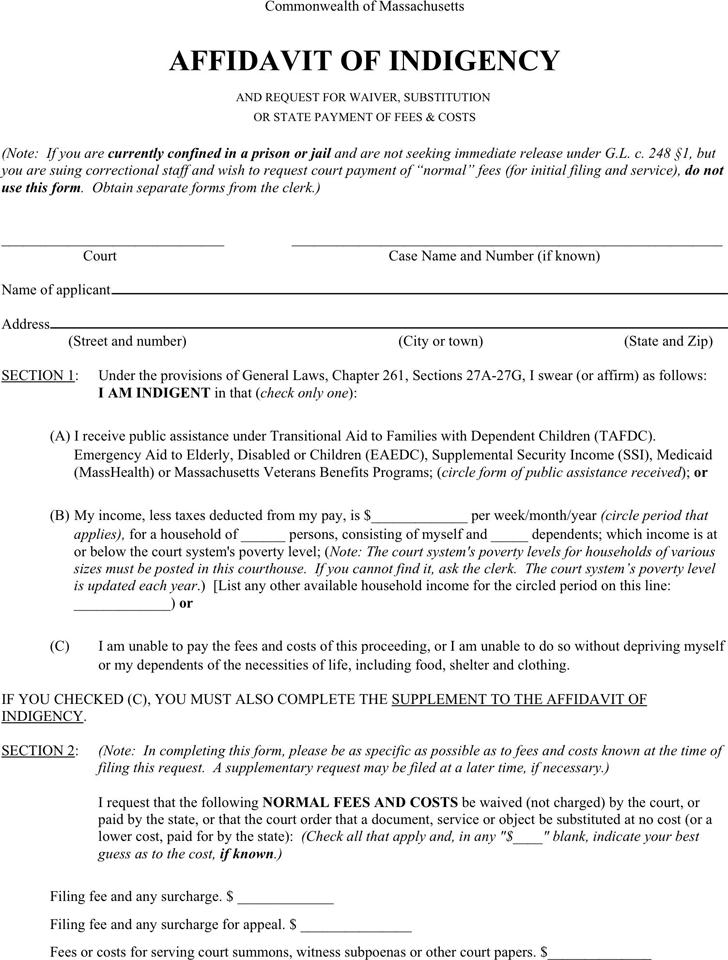 Free Massachusetts Affidavit of Indigency - PDF | 129KB | 2