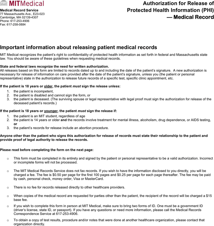 Massachusetts Medical Records Release Form 2