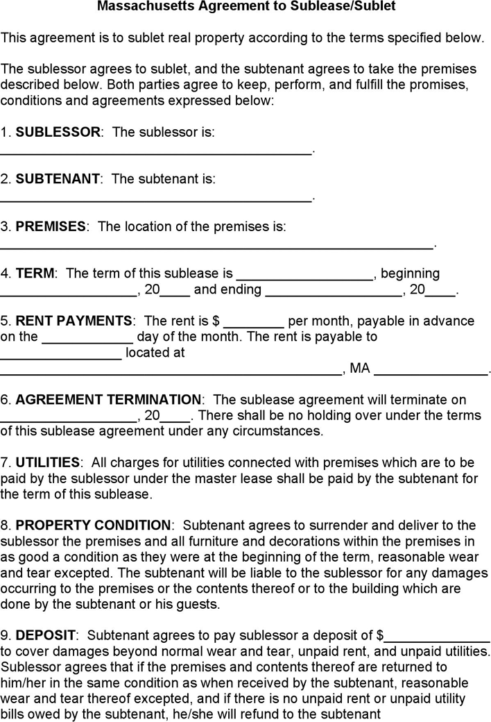 Free Massachusetts Sublease Agreement Form Doc 33kb 3 Pages