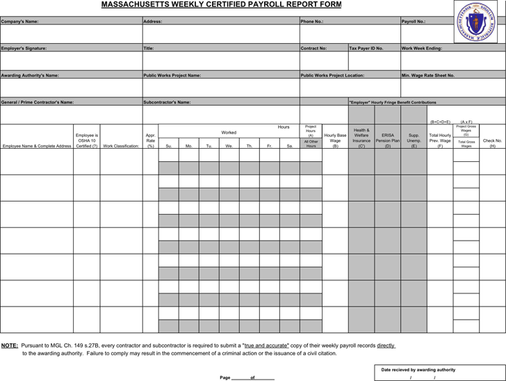 Massachusetts Weekly Certified Payroll Report Template  Payroll Report Template