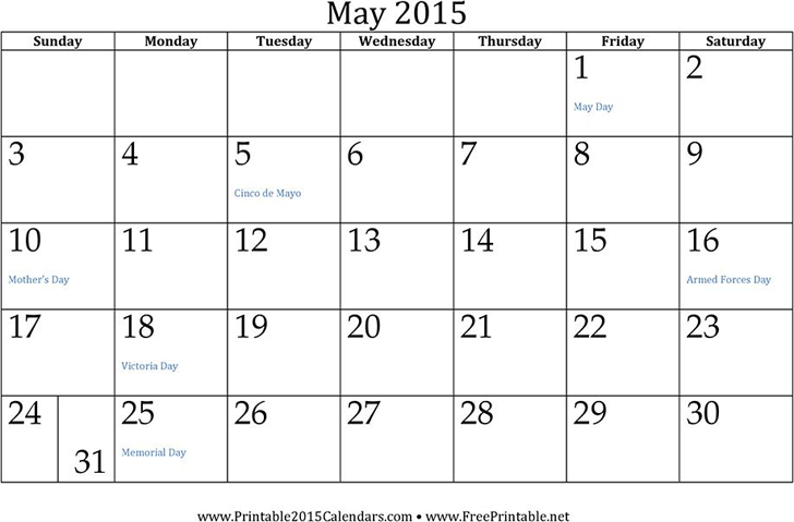 May 2015 Calendar Template Free Download Speedy Template