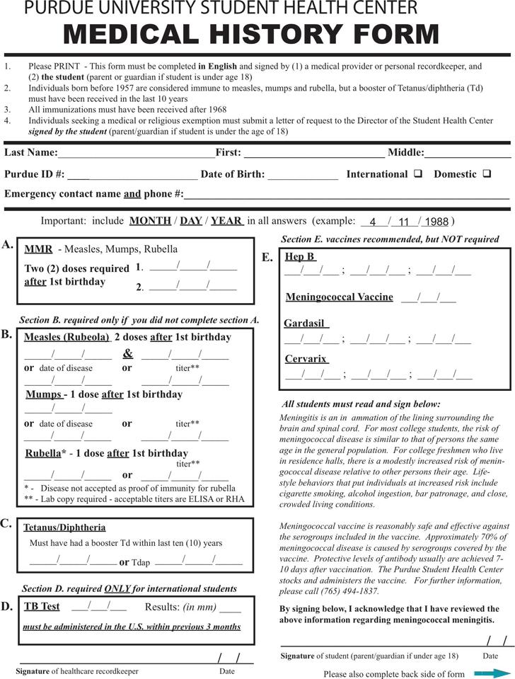 Medical History Form 4