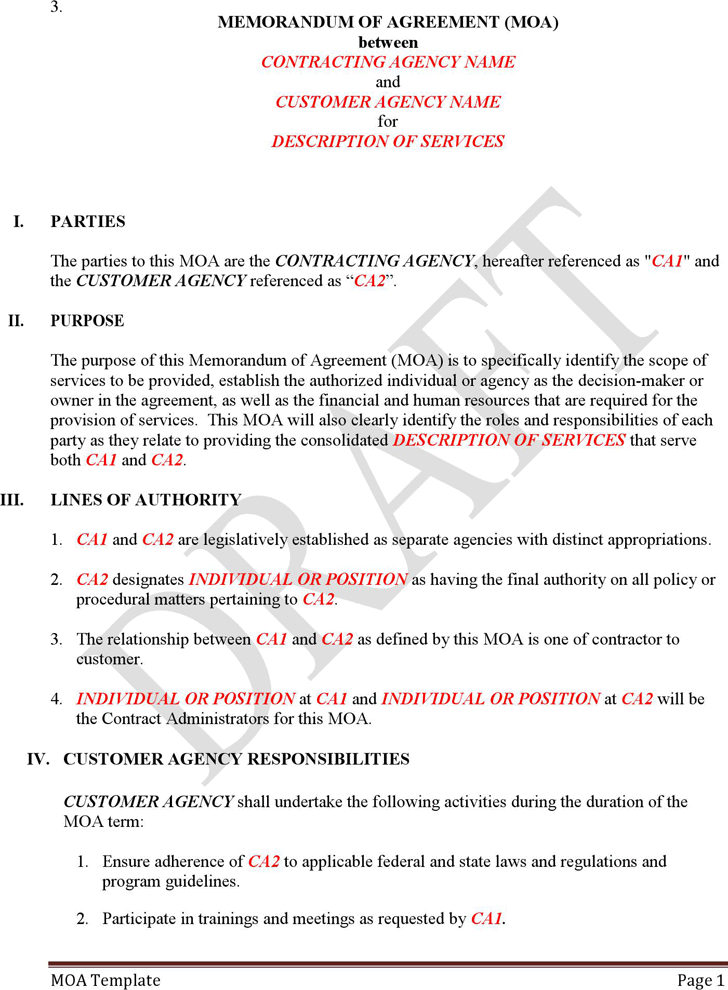 Memorandum Of Agreement Template Template Free Download Speedy