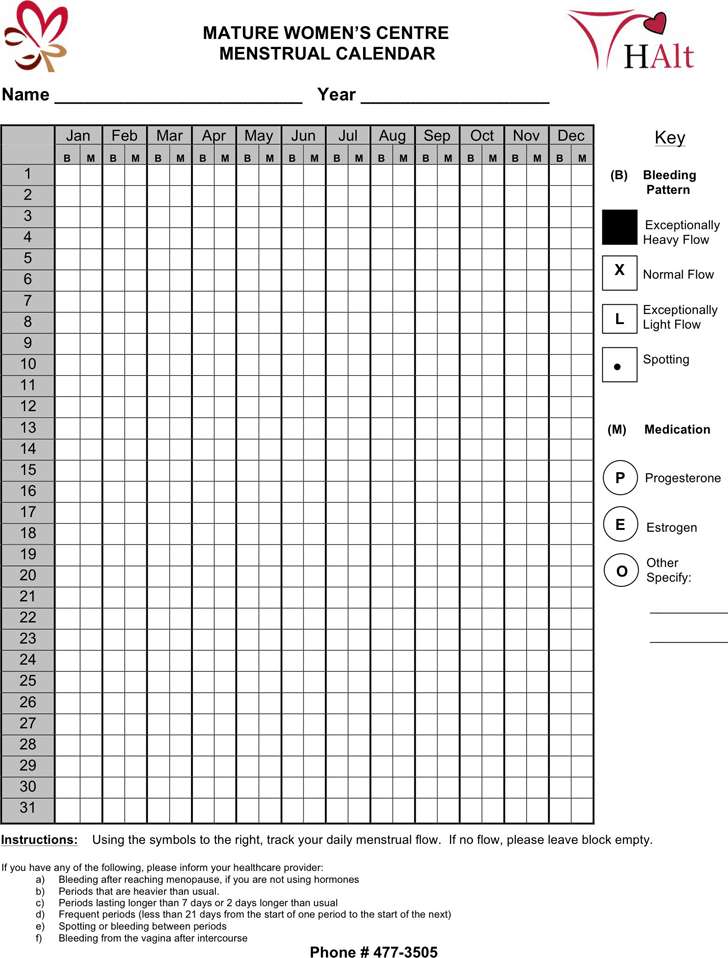 photograph relating to Menstrual Calendar Printable called Menstrual Calendar - Template Totally free Down load Rapid Template