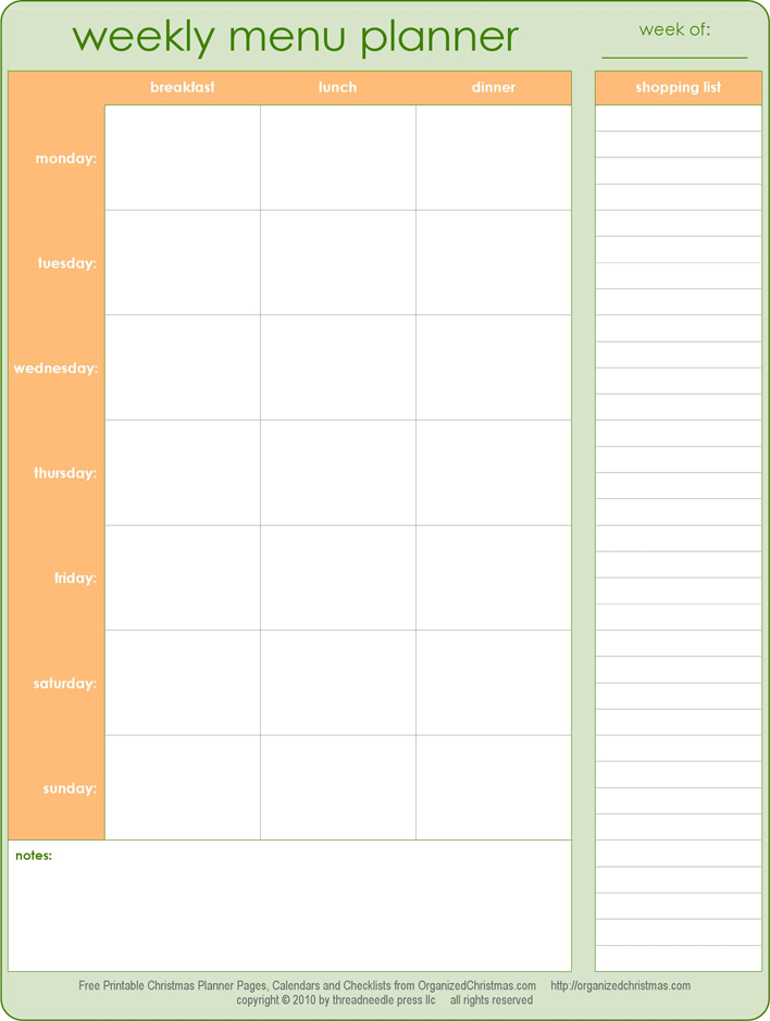 Free Menu Planner With Grocery List Pdf 124kb 1 Page S