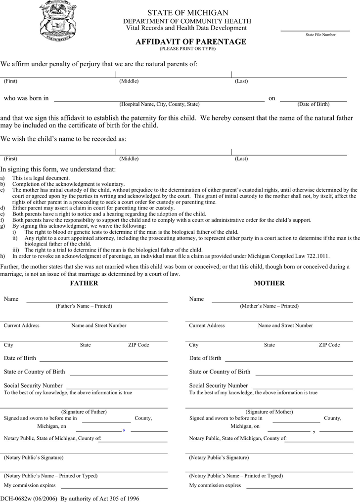 Free Michigan Affidavit of Parentage - PDF | 30KB | 2 Page(s)