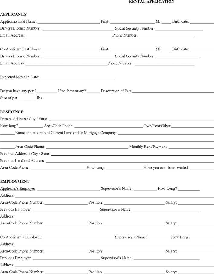 Michigan Rental Application Form