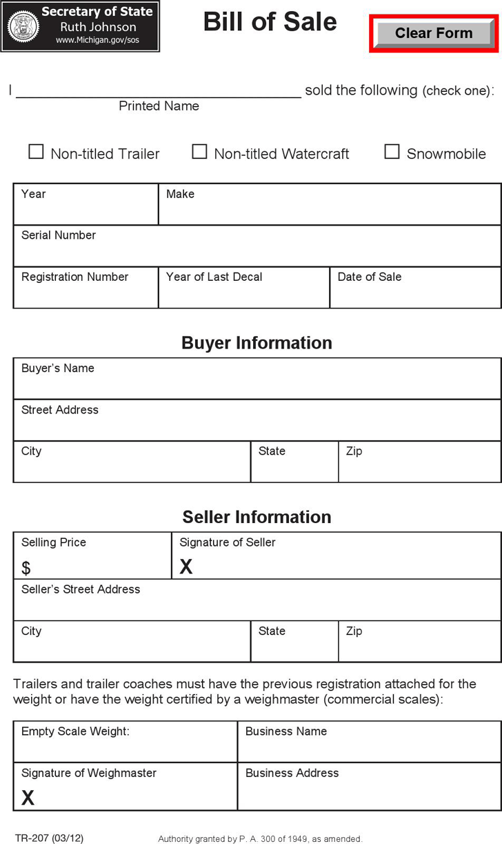 bill of sale form for business