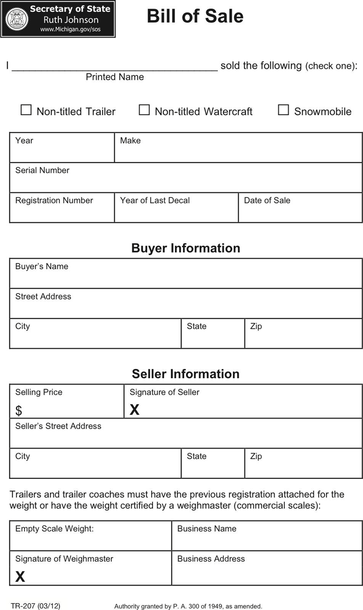 Free Michigan Vehicle Bill of Sale Form - PDF | 405KB | 1 Page(s)