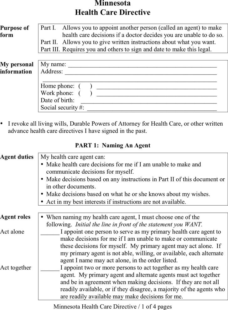 advance care directive template - free minnesota advance health care directive form pdf