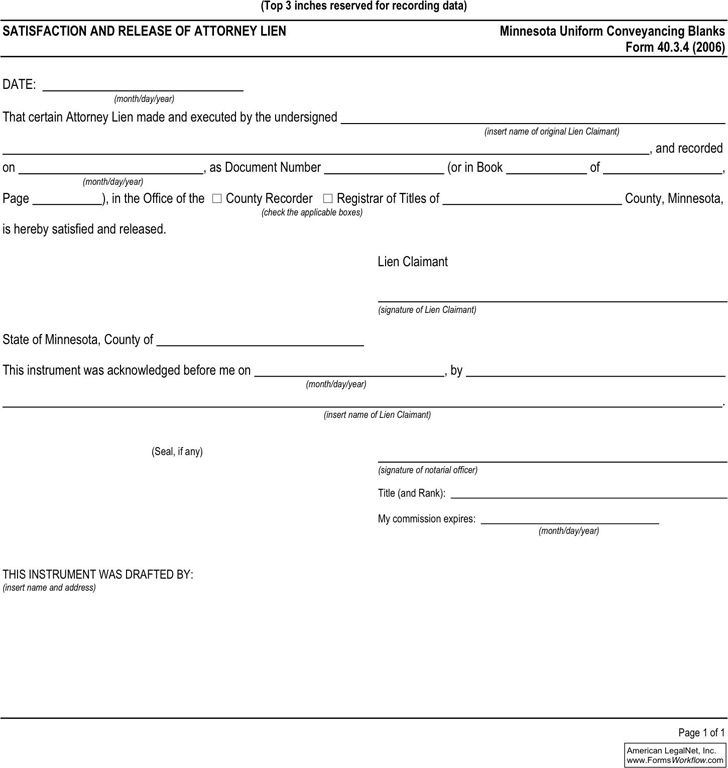 Free Minnesota Release of Attorney Lien - PDF   20KB   1 Page(s)