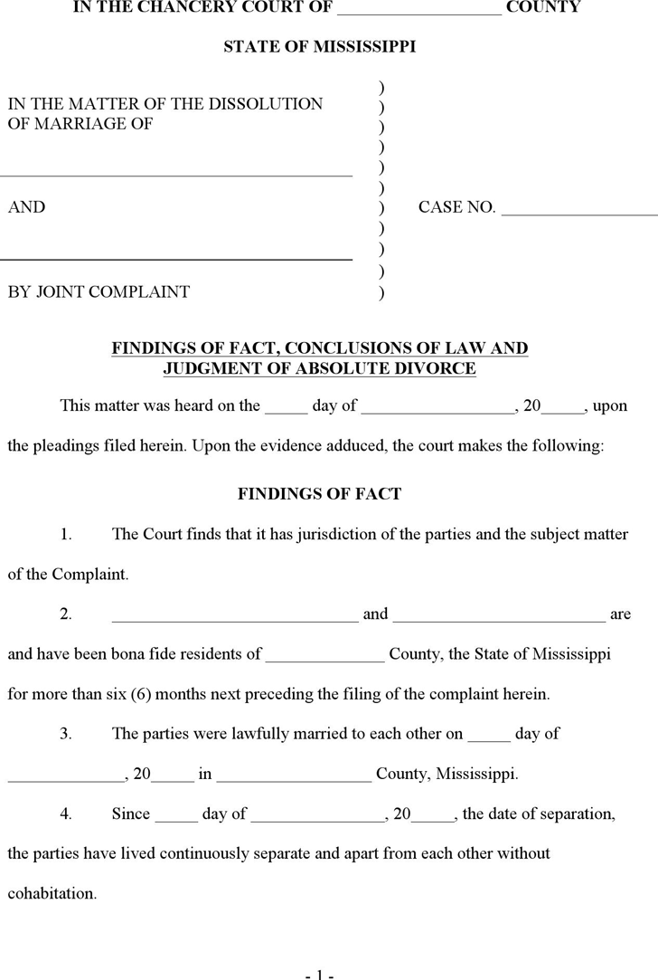 Divorce template free template downloadcustomize and print mississippi final judgment of absolute divorce form yadclub Gallery