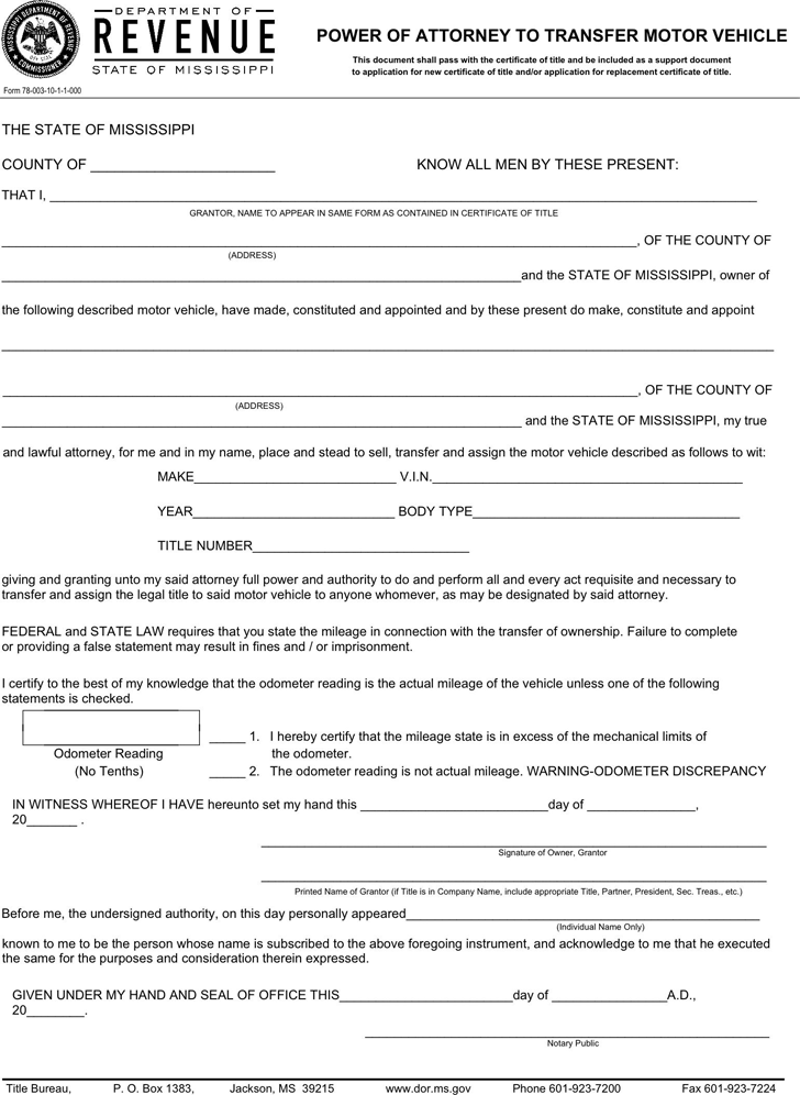 Free Mississippi Motor Vehicle Power of Attorney Form - PDF