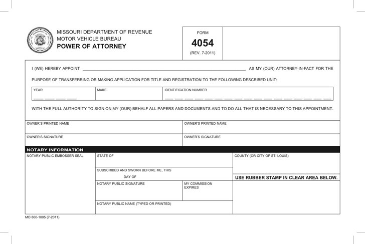Free Missouri Motor Vehicle Power of Attorney Form - PDF | 42KB | 1