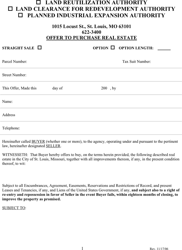 Free Missouri Offer To Purchase Real Estate Form Pdf 129kb 5