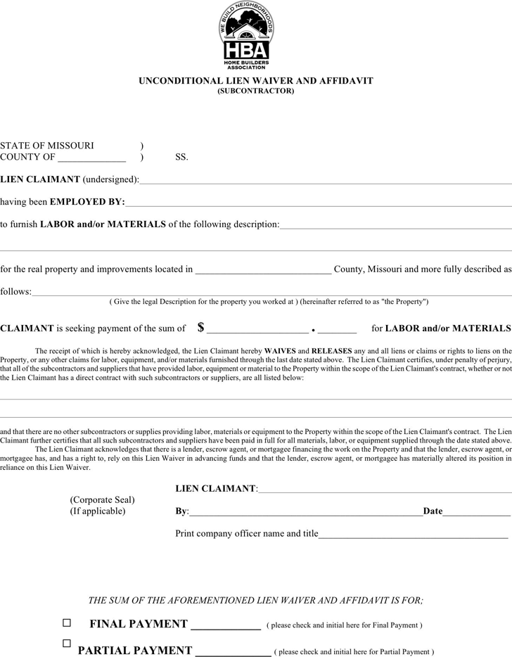final lien waiver template - missouri lien release form dmh id number state of