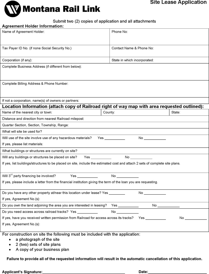 Montana Land Lease Application Form