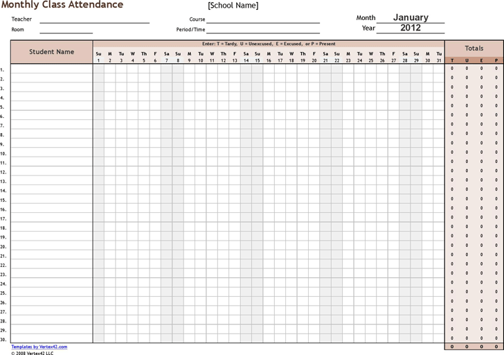 attendence form