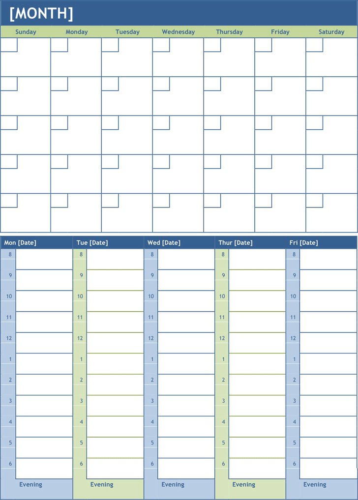 Calendar Planner In Asp : Monthly calendar template free download