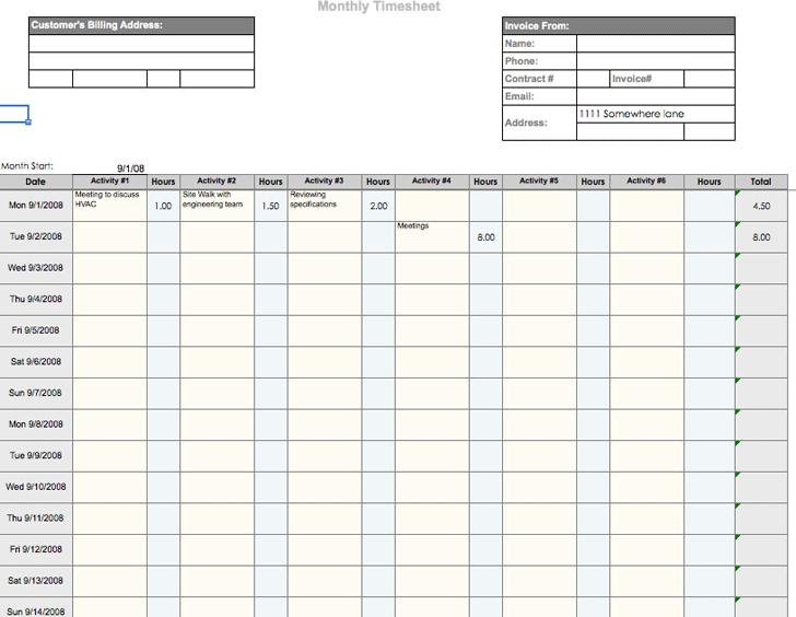 template timesheet
