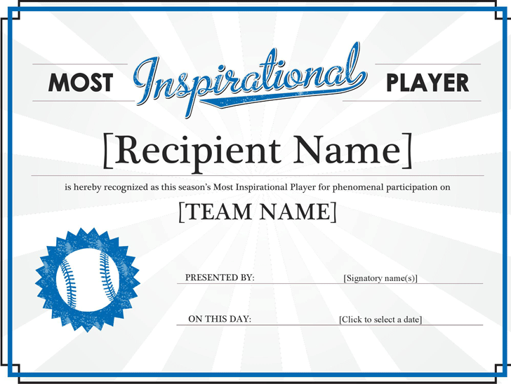 Free Most Inspirational Player Award Certificate - docx