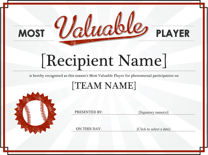 Most Valuable Player Award Certificate  Award Templates Word