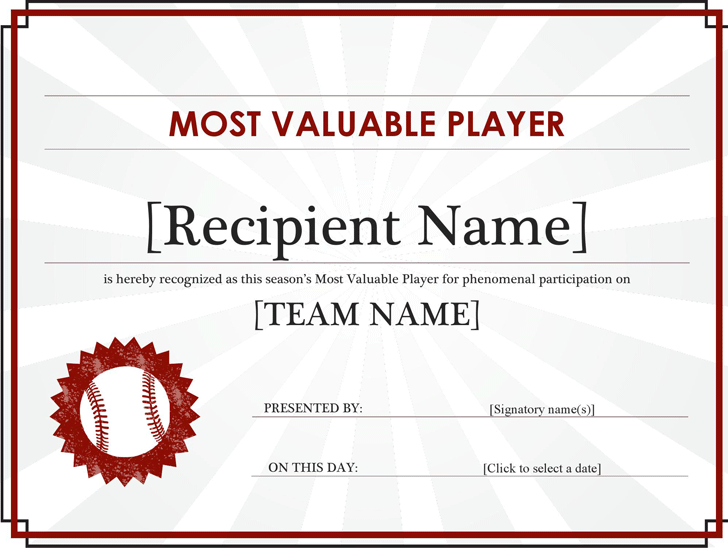 Sports certificates template free download speedy template most valuable player award certificate editable title yelopaper Images