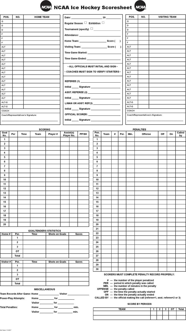 Hockey Score Sheet Template Free Download – Canasta Score Sheet