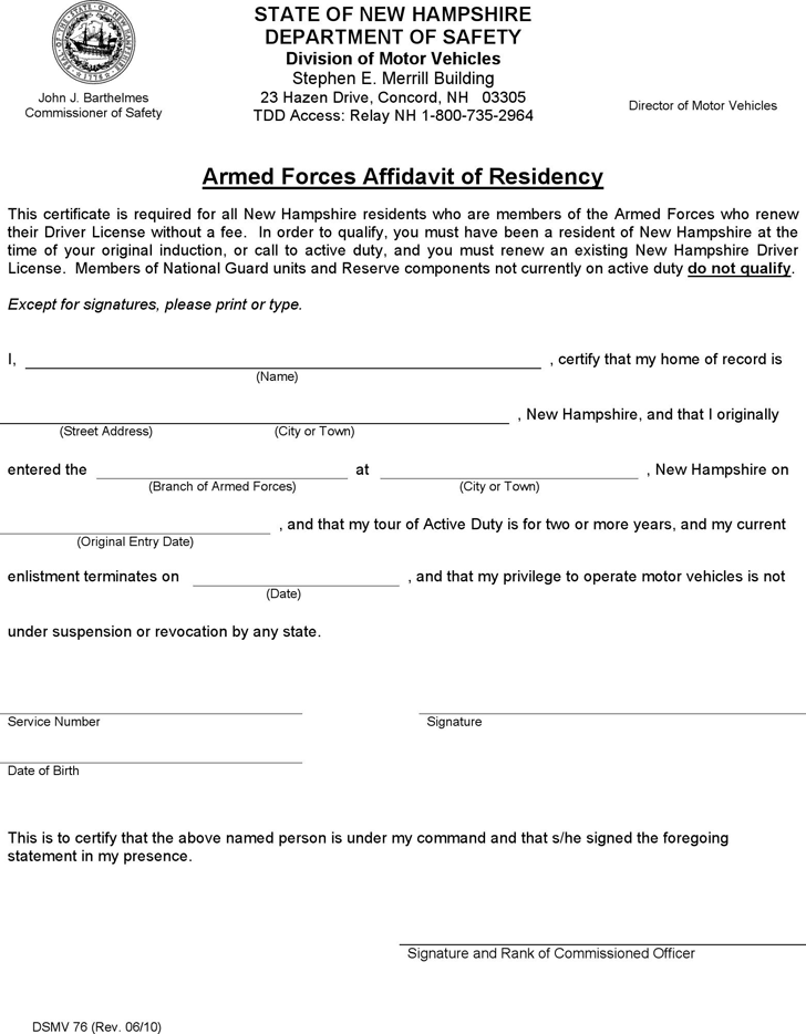 free new hampshire armed forces affidavit of residency