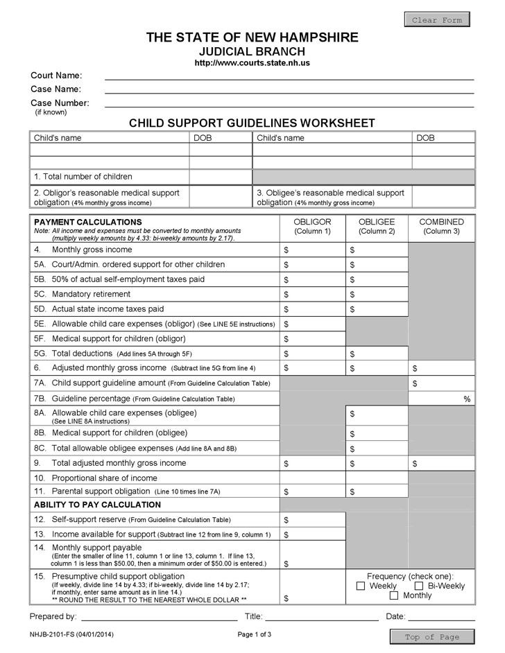 Free New Hampshire Child Support Guidelines Worksheet Form ...