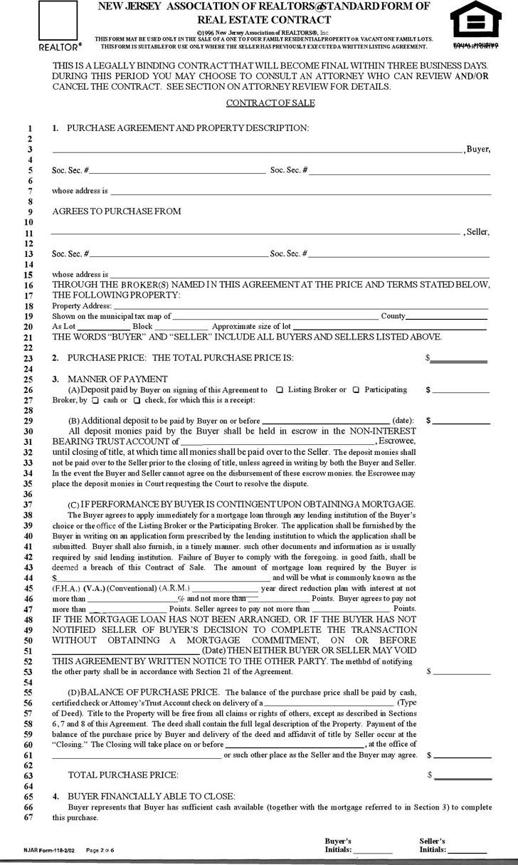 Offer To Purchase Real Estate Template Free Template Download New Jersey  Association Of Realtors Standard Form Of Real Estate Contract New Jersey  8asp  Agreement To Purchase Real Estate Form Free