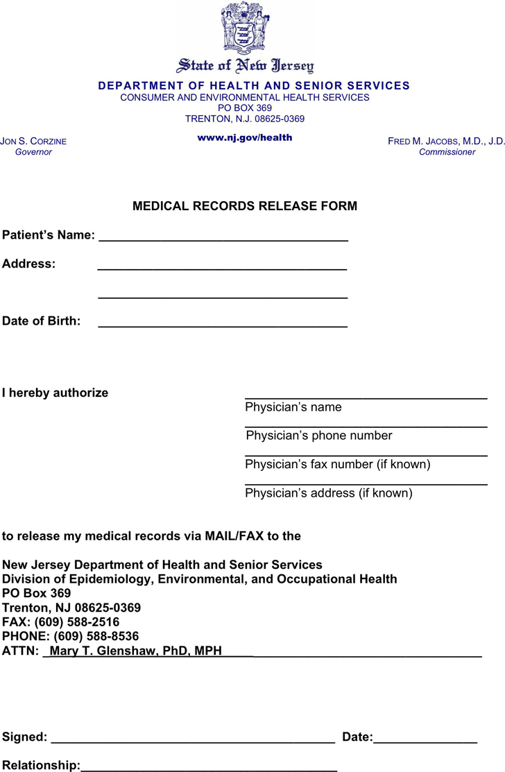 medical records release forms