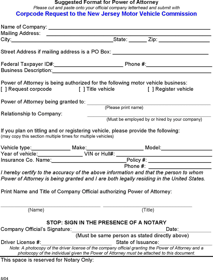 New Jersey Motor Vehicle Power of Attorney Form
