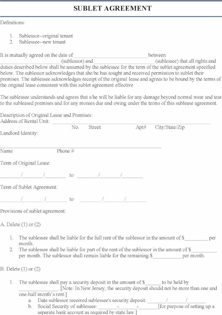 Sublet Agreement | Free New Jersey Sublease Agreement Form Pdf 458kb 2 Page S