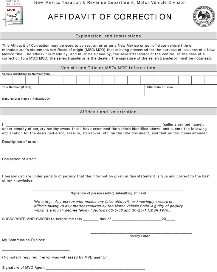 Free 8 Correction Affidavit Forms In Pdf: Free Template Download,Customize And