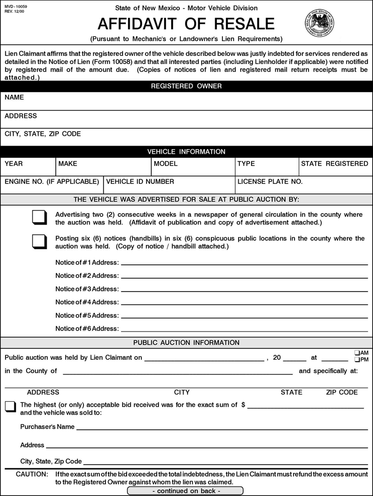 Free New Mexico Affidavit of Resale Form - PDF | 184KB | 2